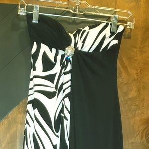 Strapless Black and White Maxi Dress